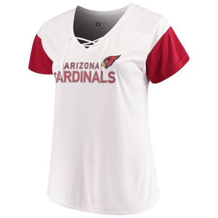 Women's Majestic White/Cardinal Arizona Cardinals Lace-Up V-Neck T-Shirt (Arizona Cardinals Party Supplies)