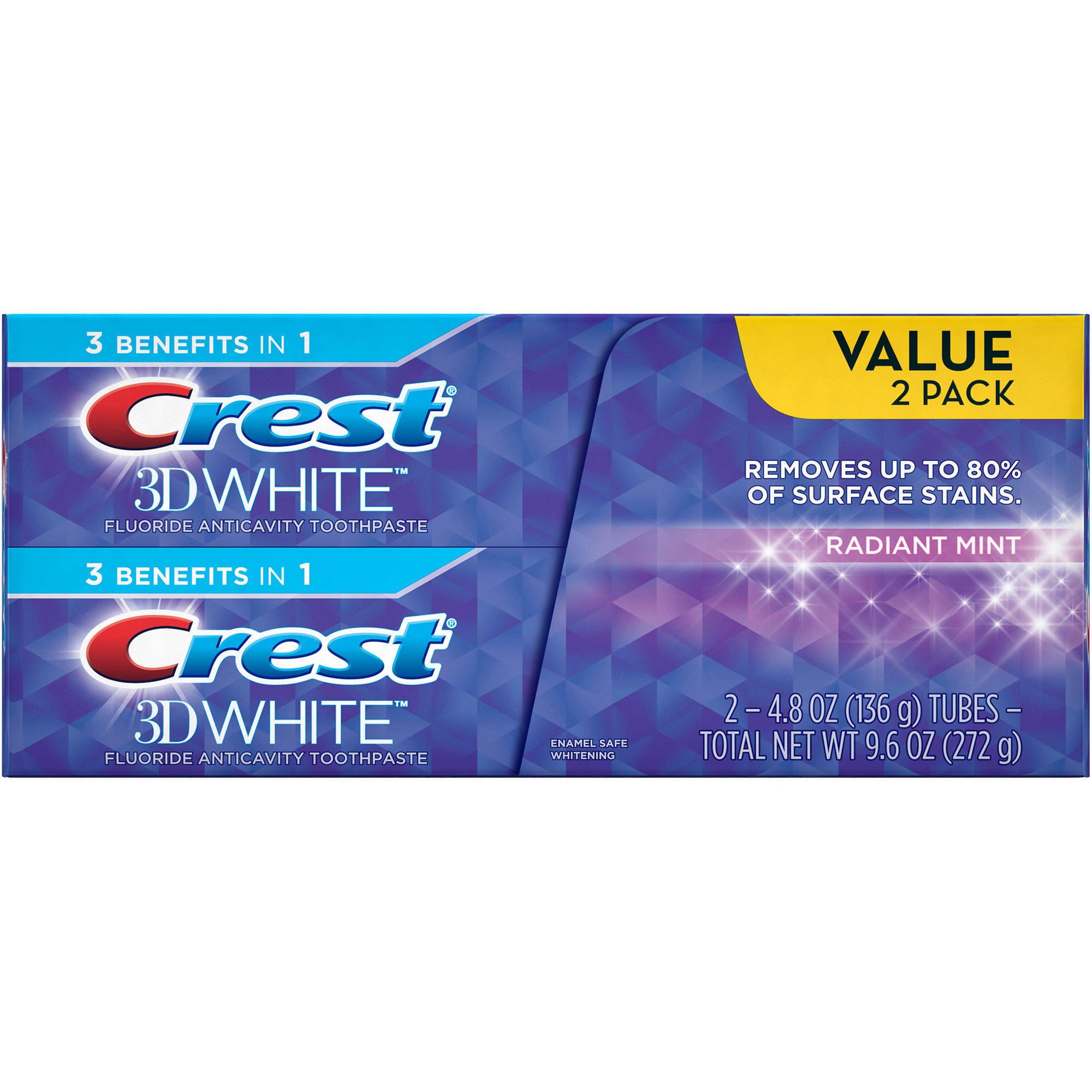 3D White Crest 3D White Radiant Mint Whitening Toothpaste, 4.8 oz, 2 count