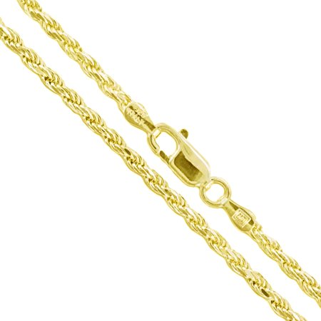 22k Yellow Gold Plated Sterling Silver Diamond-Cut Rope Chain 2.2mm Solid 925 Italy New Necklace 18""