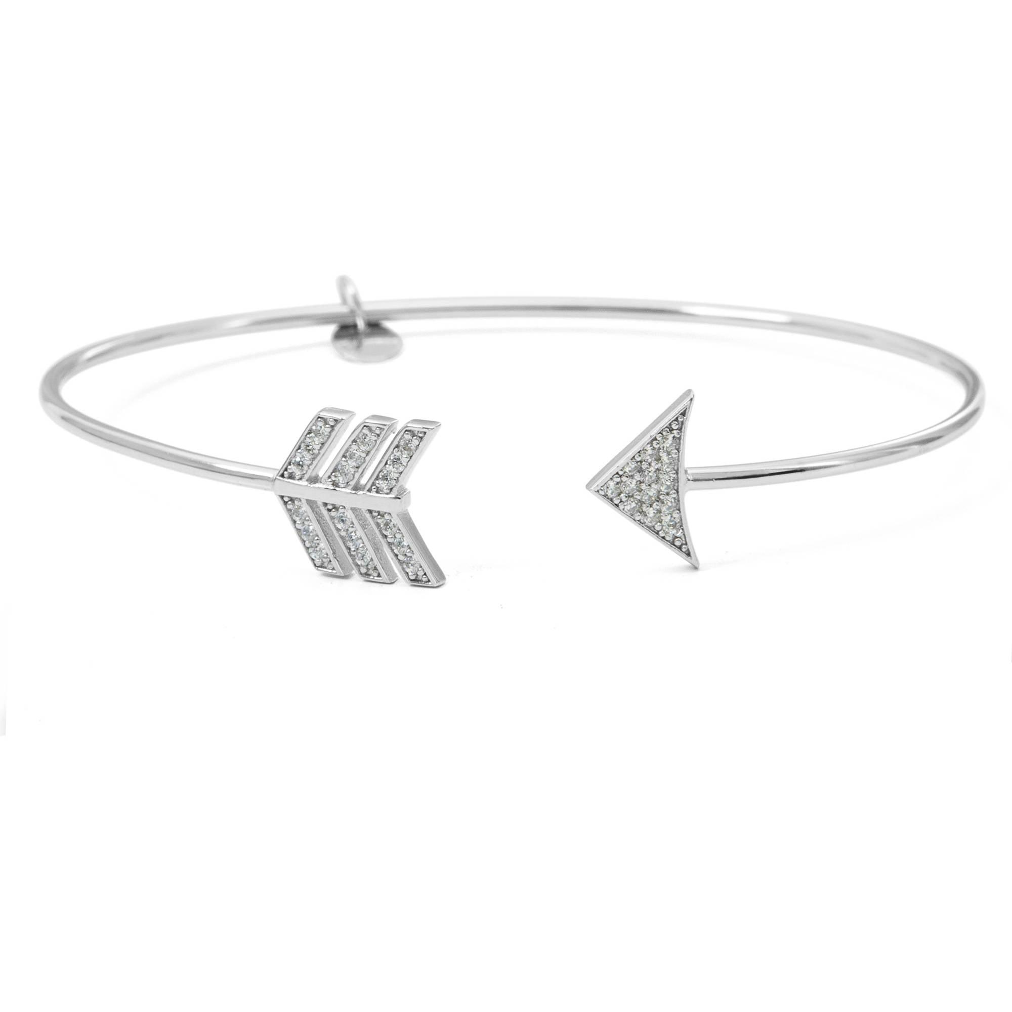 Cubic Zirconia Sterling Silver Arrow Cuff Bracelet