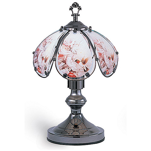 "OK Lighting 14.25"" Black Chrome Touch Lamp With Hummingbird Theme"