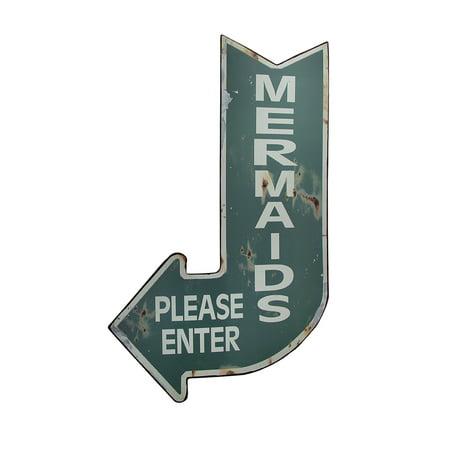 Mermaids Please Enter Vintage Finish Arrow Shaped Tin Wall Sign - image 3 de 3
