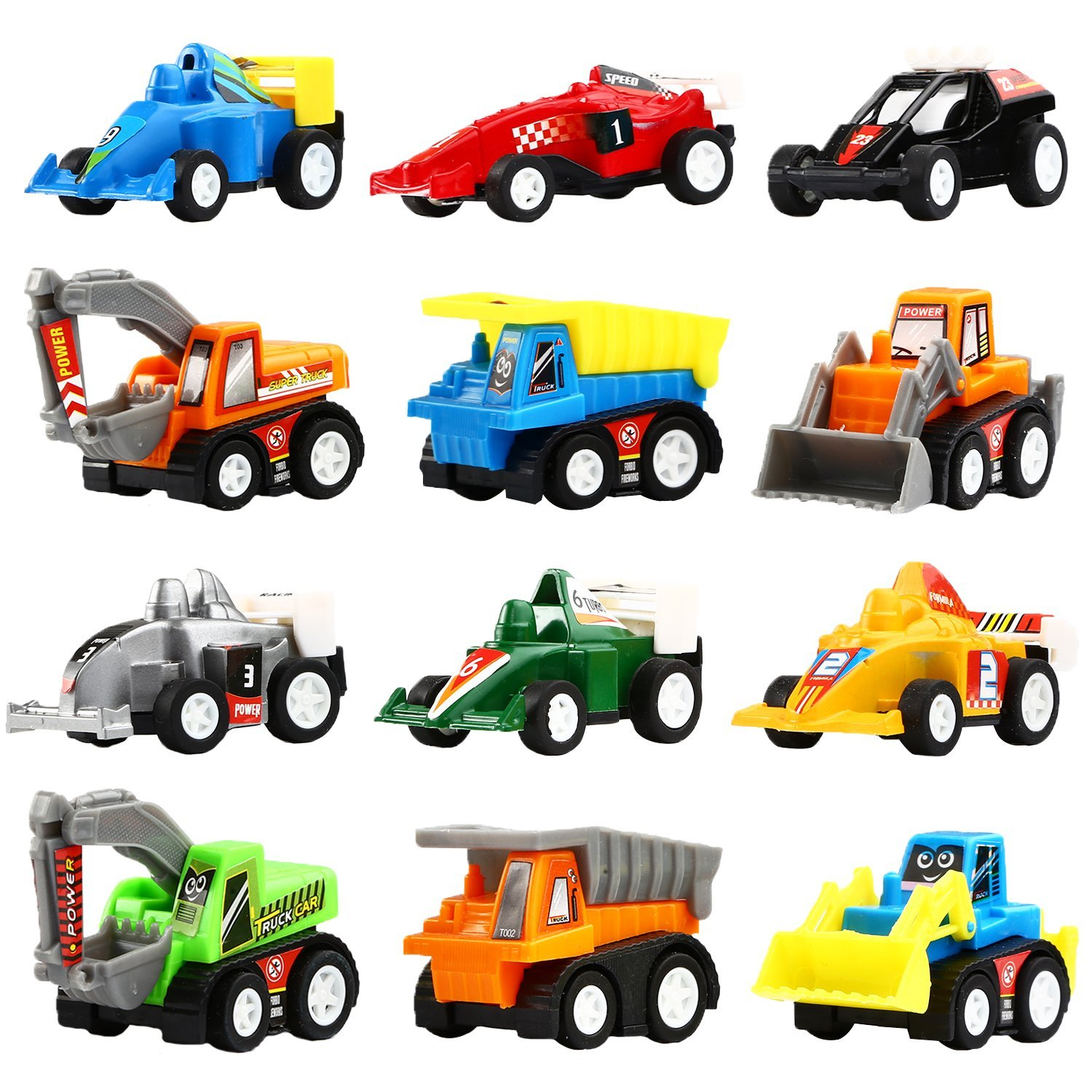Pull Back Vehicles, 12 Pack Mini Assorted Construction Vehicles and Race Car Toy, Yeonha Toys Vehicles Truck Mini Car Toy for Kids Toddlers Boys Child, Pull Back and Go Car Toy Play Set