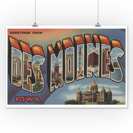 Greetings From Des Moines Iowa Capital Bldg 12x18 Art Print Wall Decor Travel Poster
