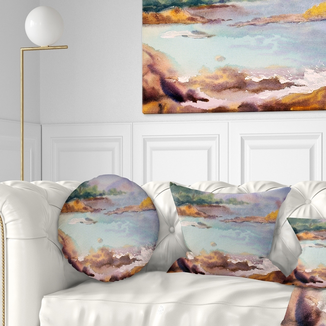 Sofa Throw Pillow 16 Designart Cu7851 16 16 C Tranquil Watercolor Waters Seascape Round Cushion Cover For Living Room Home Kitchen Throw Pillow Covers
