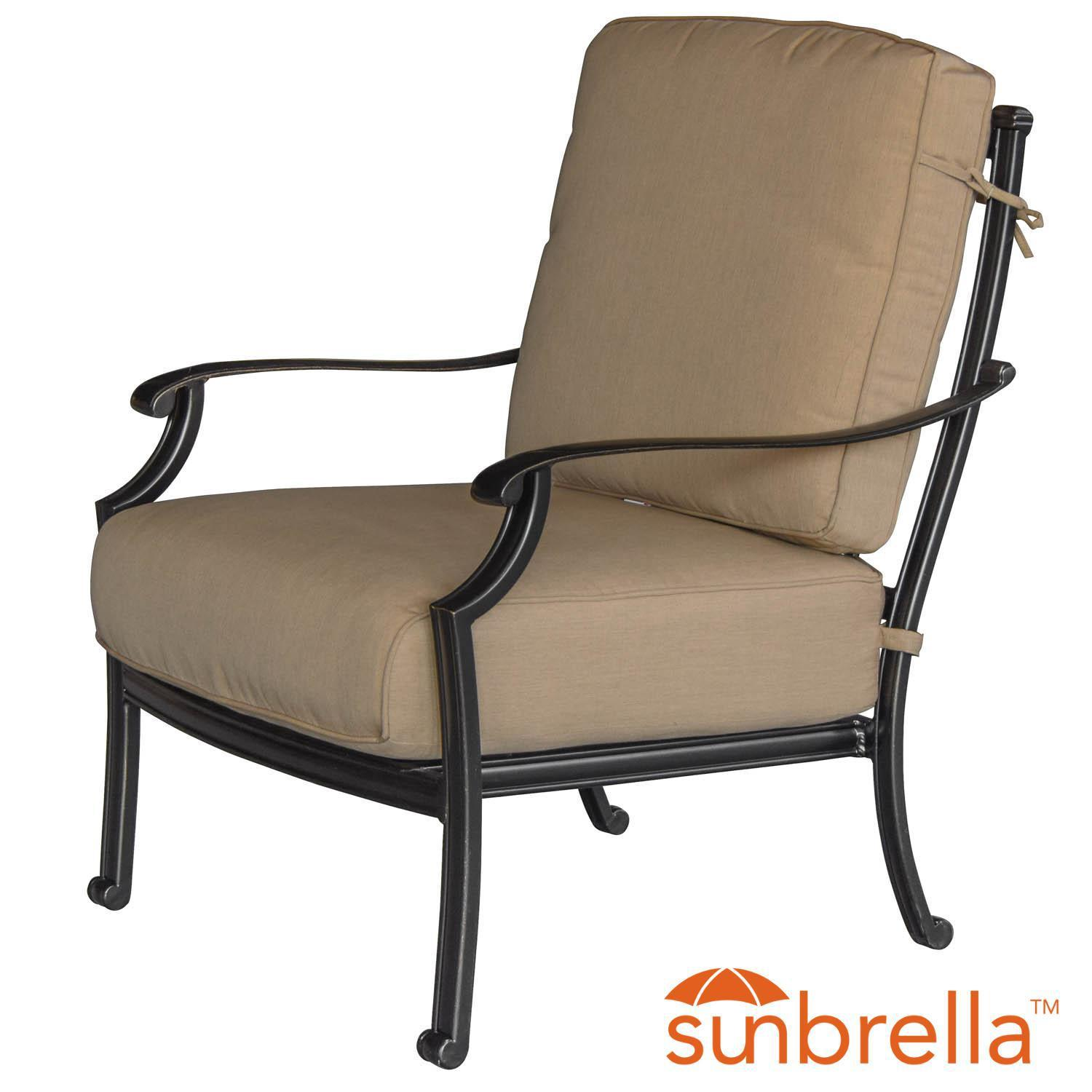 Bocage Cast Aluminum Patio Club Chair W/ Sunbrella Heather Beige Cushions By Lakeview Outdoor Designs