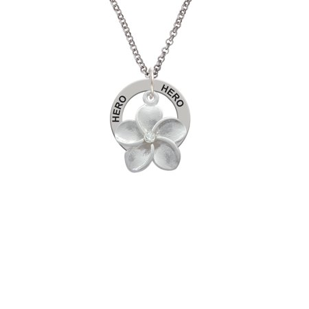 Large Plumeria Flower With Crystal Little Sister Affirmation Ring Necklace