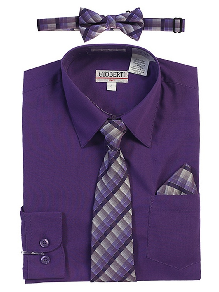Gioberti Little Boys Dark Purple Tie Bow Tie Pocket Dress Shirt 4 Pc Set