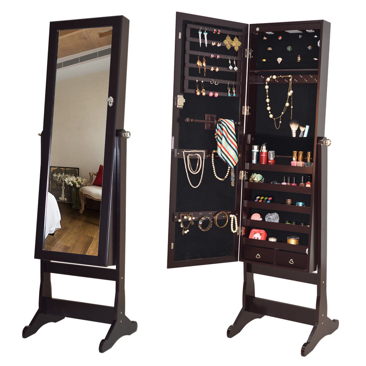 Costway Lockable Mirrored Jewelry Cabinet Armoire Organizer Storage w Stand & LED Lights by Costway