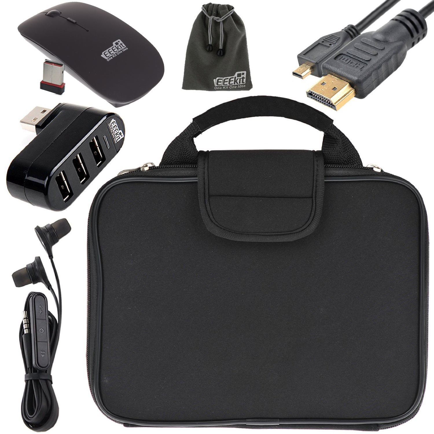 EEEKit Sleeve Case Carrying Bag+3 Port USB HUB+2.4G Wireless Mouse+Earphone+Mini HDMI to HDMI Cable for RCA Viking Pro 10.1 Tablet