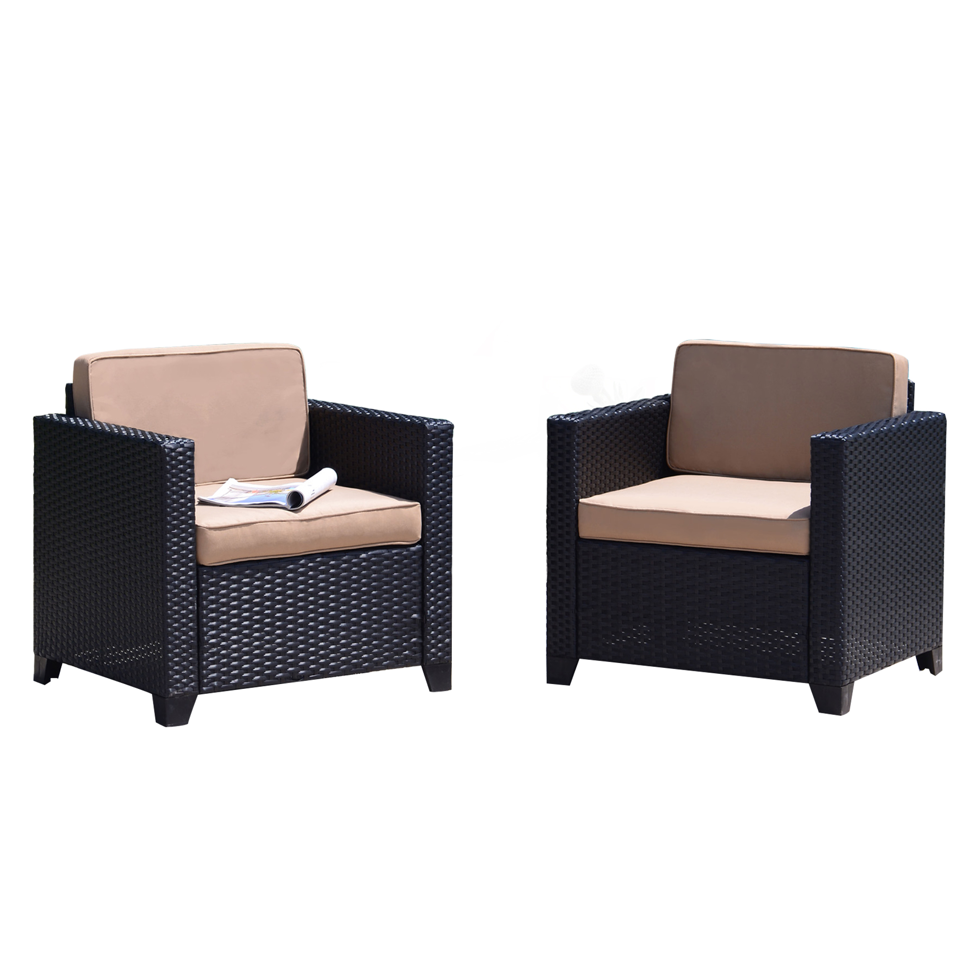 Finefind Set Of 2 Patio Wicker Club Chairs Set Outdoor Patio Dining Sofa Chairs Garden Lounge Seating Chairs Black Rattan With Khaki Cushions Walmart Com Walmart Com