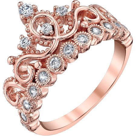 Sterling Silver Princess Crown Ring (Rose Gold Plated) (Tiffany Rose Ring)