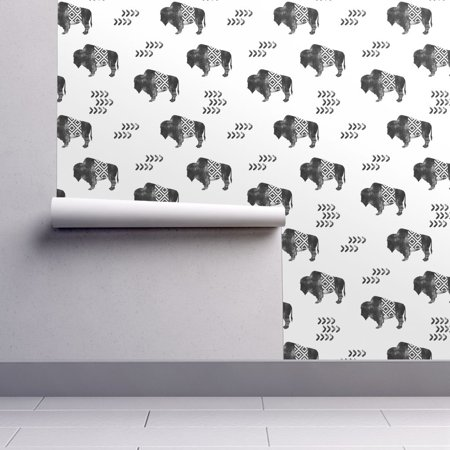 Removable Water-Activated Wallpaper Buffalo Buffalo Bison Southwest Aztec