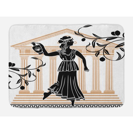 Toga Party Bath Mat, Greek Woman with Amphora Temple and Olive Branches Culture Folk Pattern, Non-Slip Plush Mat Bathroom Kitchen Laundry Room Decor, 29.5 X 17.5 Inches, Sand Brown Black, Ambesonne (Toga Women)