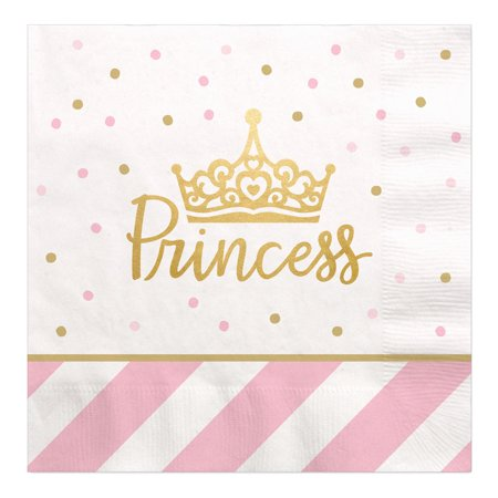 Little Princess Crown with Gold Foil - Pink and Gold Princess Baby Shower or Birthday Party Luncheon Napkins (16 Count)](New Little Princess Baby Shower Theme)