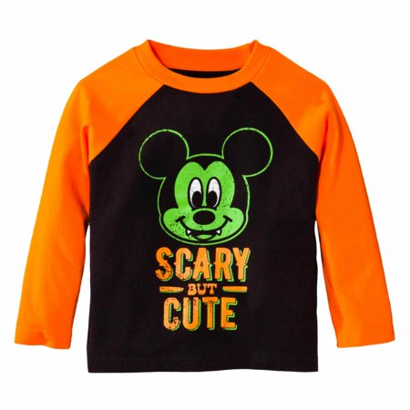 Disney Infant Toddler Boys Orange Black Mickey Scary Cute Halloween Shirt (Cute Halloween Drink Names)