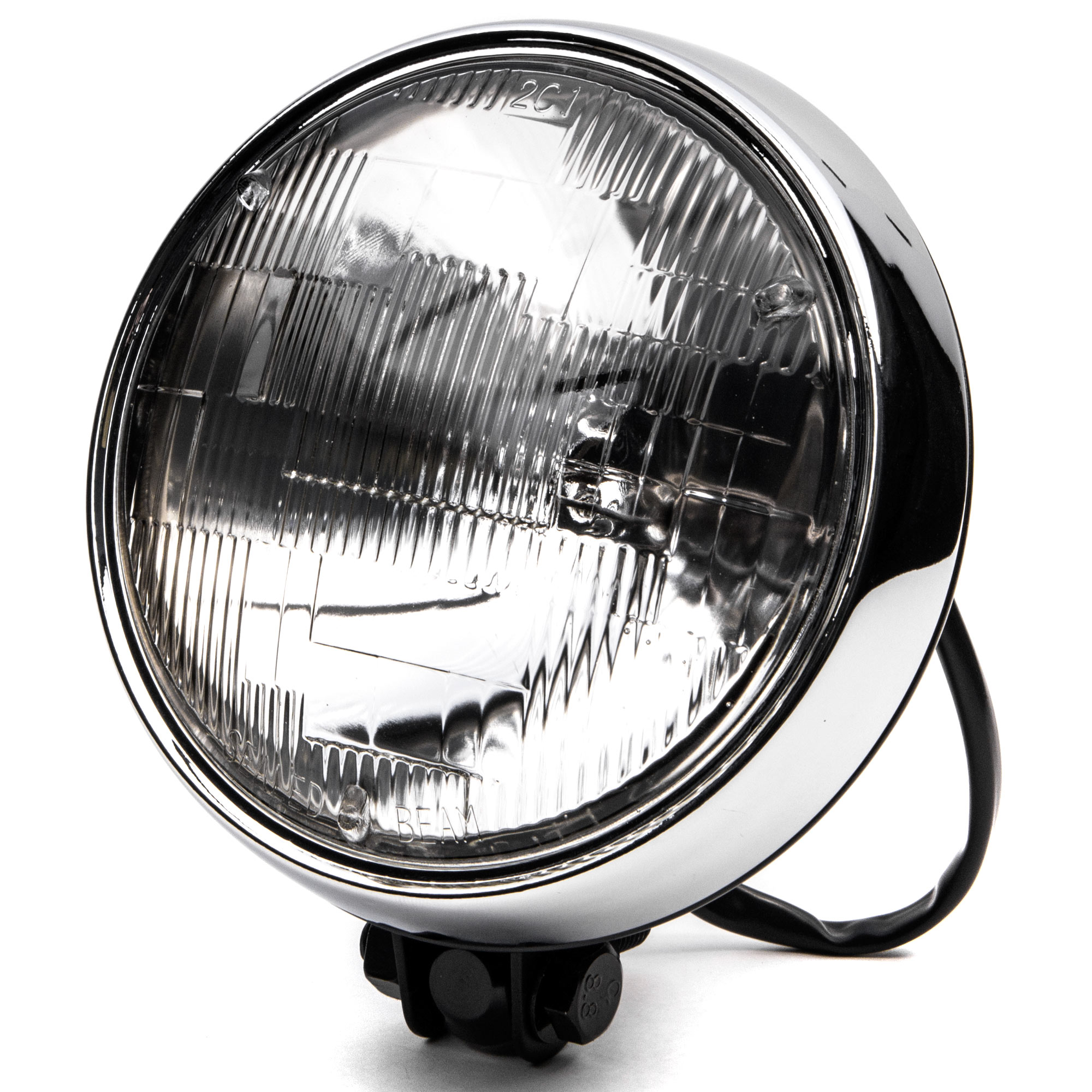 "KapscoMoto Krator 6"" Black w/ Chrome Ring Motorcycle Head..."