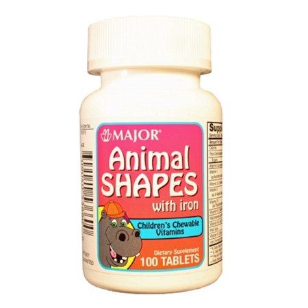 Major Animal Shapes W/Iron Chew Tabs Ascorbic Acid-60 Mg Orange/Red/Purple 100 Tablets Upc