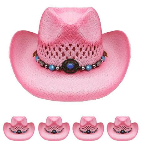KIDS PINK Tea Stain Straw COWBOY HAT w/ Turquoise Blue Beads WESTERN Cowgirl Children Girls Hat Straw Cowboy Hat Hats