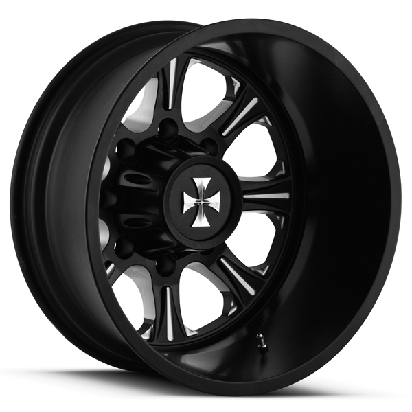 "22"" Inch Cali OffRoad Brutal Dually Rear 8x200 Black/Milled Wheel Rim"