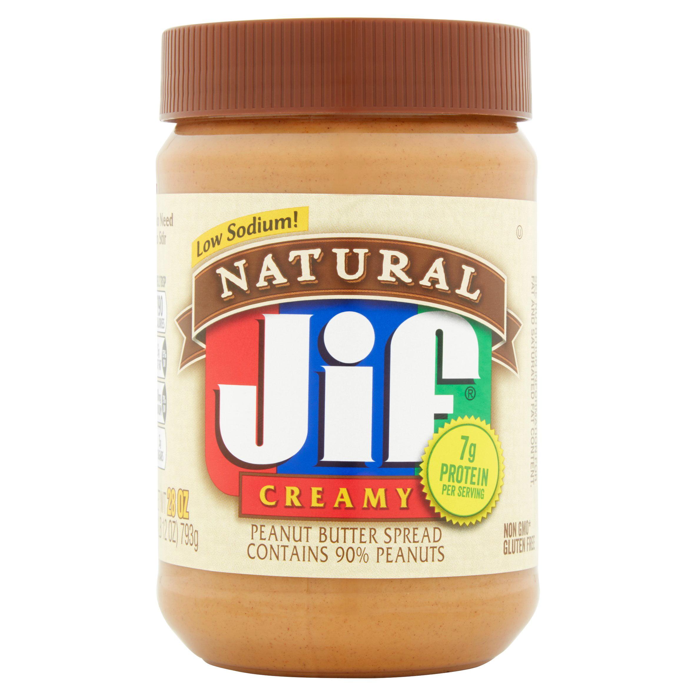 Jif Natural Creamy Peanut Butter, 28 oz