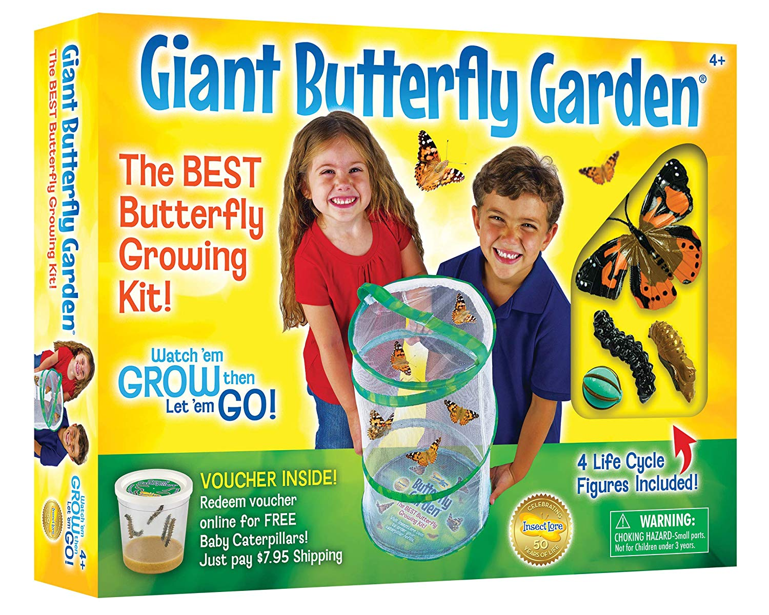 "Giant Butterfly Kit: Deluxe 18"" Habitat, Voucher For 5 Caterpillars, Butterfly Play Set Insect Lore by"