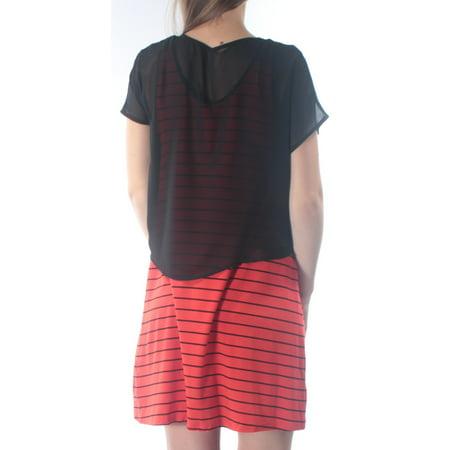 KENSIE Womens Red Sheer  Overlay Striped Sleeveless Scoop Neck Above The Knee Shift Dress  Size: S Sheer Overlay Dress