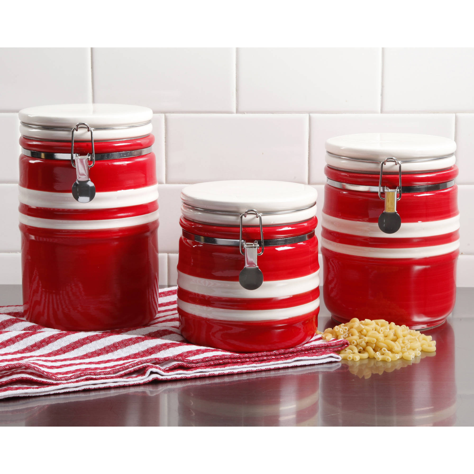 Gibson Home Just Dine Bistro Edge 3-Piece Canister Set, Red