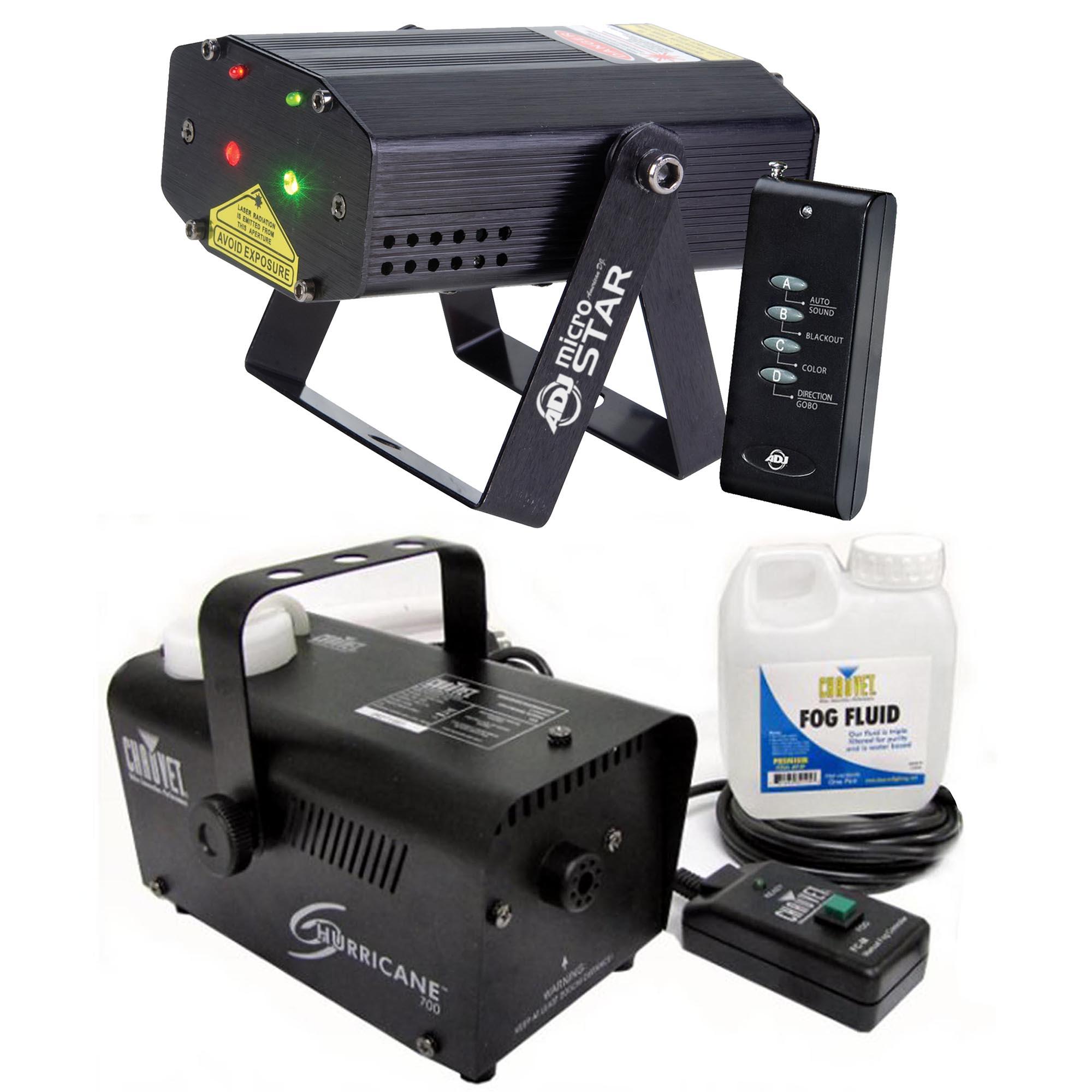 ADJ Micro Star Laser & Wireless Remote + Chauvet Fog Machine w  Fluid & Remote by
