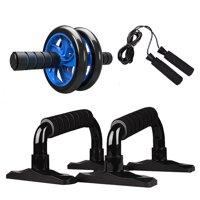4-in-1 AB Wheel Roller Kit Abdominal Press Wheel Pro with Push-UP Bar Jump Rope and Knee Pad Portable Equipment for Home Exercise Muscle Strength Fitness