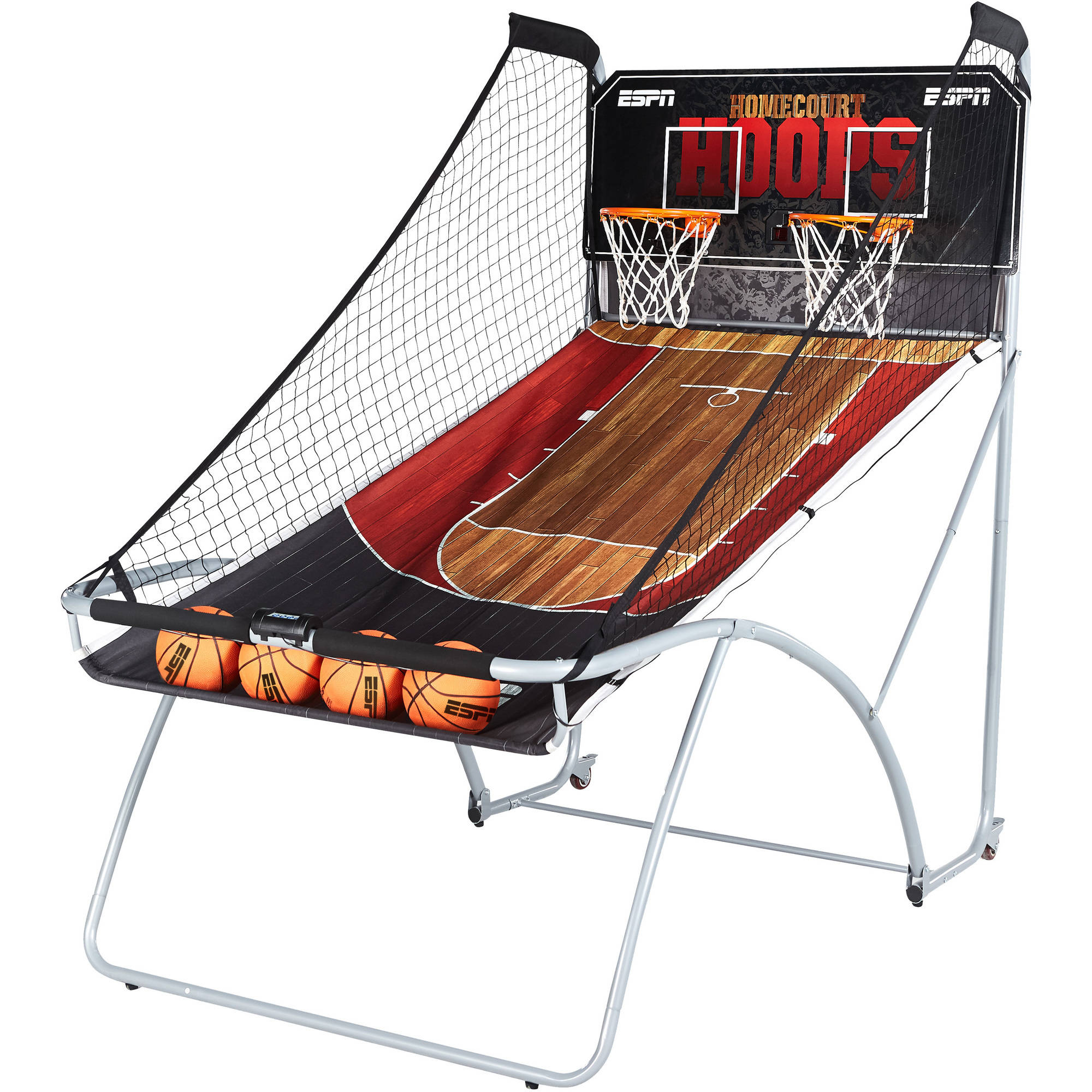 """ESPN EZ-Fold 2-Player Basketball Game with 4 basketballs and 1 air pump, 81""""L x 48""""W x 80.5""""H, Black/Red"""