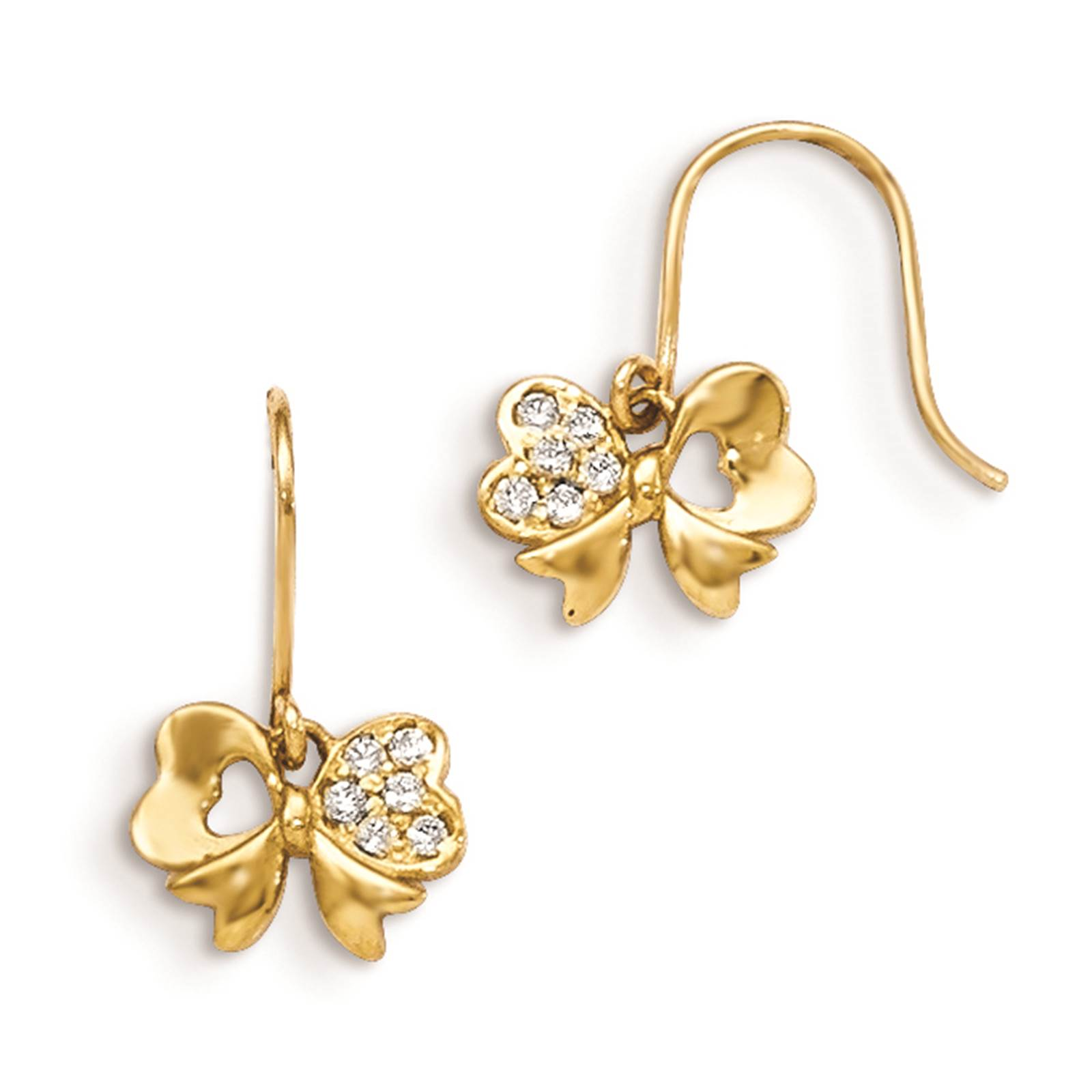 Madi K 14k Yellow Gold Children's Bow Dangle Polished CZ Earrings