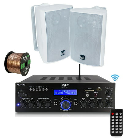 Pyle PDA6BU Amplifier Receiver Stereo, Bluetooth, FM Radio, USB Flash Reader, Aux input LCD Display, 200 Watt With Dual LU47PB Indoor/Outdoor Speakers Bundle With Enrock 50ft 16g Speaker Wire