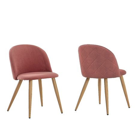 Zimtown Velvet Dining Chairs for Living Room, Modern Accent Leisure  Upholstered Chairs Mid Century, Side Chairs Metal Legs with Wood Pattern,  Mid-Back ...