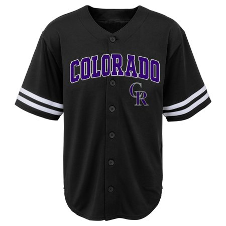 MLB Colorado ROCKIES TEE Short Sleeve Boys Fashion Jersey Tee 60% Cotton 40% Polyester BLACK Team Tee 4-18