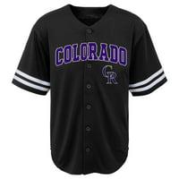 MLB Colorado ROCKIES TEE Short Sleeve Boys Fashion Jersey Tee 60% Cotton 40% Polyester BLACK Team Tee 4-18