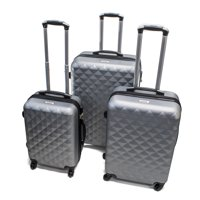 ALEKO ABS Hardside Diamond 3-Piece Luggage Set with Lock