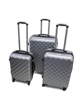 ALEKO ABS Hardside Diamond 3 Piece Luggage Set with Lock