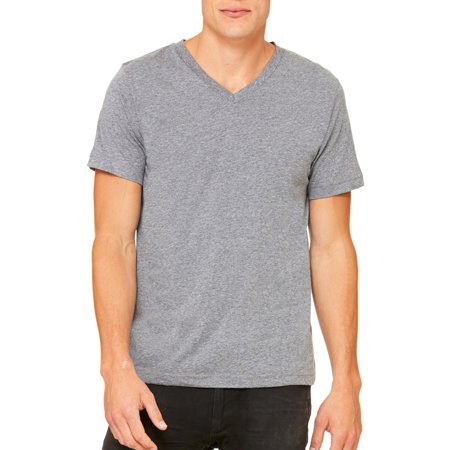 Bella+Canvas Comfortable V-Neck Jersey T-Shirt, Large, Deep (Deep Teal Heather)