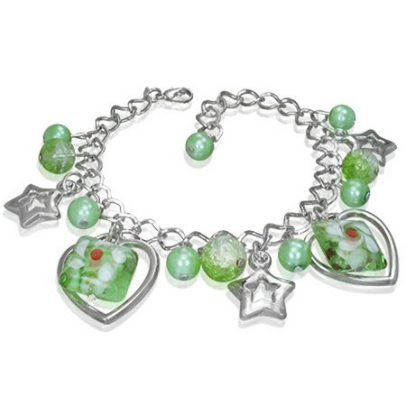 Fashion Alloy Green Glass Beads Stars Hearts Flowers Womens Link Bracelet Light Fashion Link
