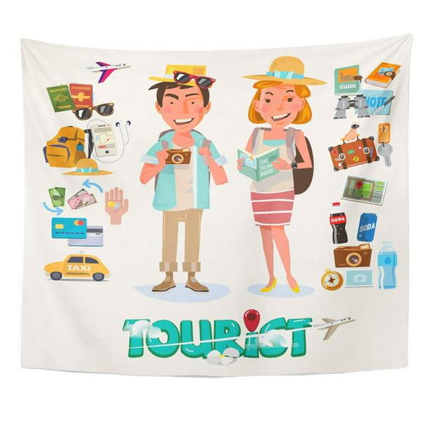 Zealgned Man Cartoon Couple Tourist With Gadget For Travel Character Design Flat Adventure Wall Art Hanging Tapestry Home Decor For Living Room Bedroom Dorm 60x80 Inch Walmart Com Walmart Com