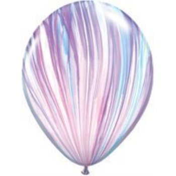 PURPLE Light Blue Purple PINK (6) SWIRL TIE DYE Hippie 60's Agate Latex Balloons by LGP (60s Decorations)