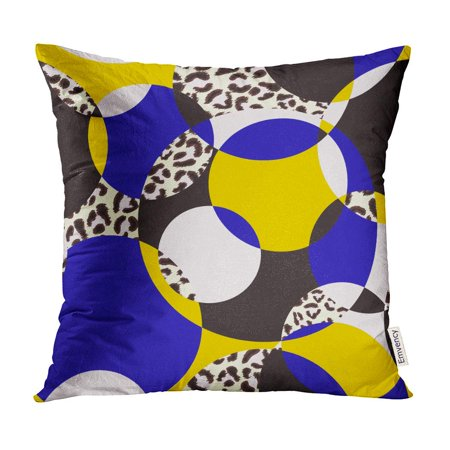 Colorful Blue Leopard - ECCOT Blue Geometric Pattern Circles and Leopard Colorful Eclectic Pillow Case Pillow Cover 18x18 inch