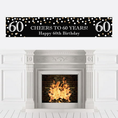 Adult 60th Birthday - Gold - Birthday Party Decorations Party Banner - Black And Gold 60th Birthday Decorations