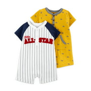Child of Mine by Carter's Baby Boy Short Sleeve Rompers, 2-Pack