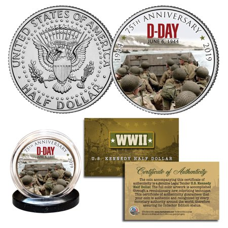 World War II - D-DAY Normandy 75th Anniversary 1944 - 2019 JFK Half Dollar Coin
