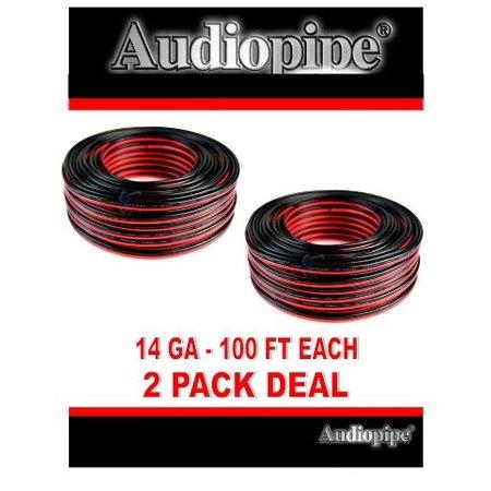 2 Pack 100' feet 14 Gauge Red Black Stranded 2 Conductor Speaker Wire Car Audio