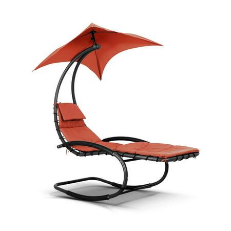 Phenomenal Ikayaa Rocking Outdoor Patio Chaise Lounge Chair W Canopy Garden Porch Pool Chaise Rocker Uwap Interior Chair Design Uwaporg