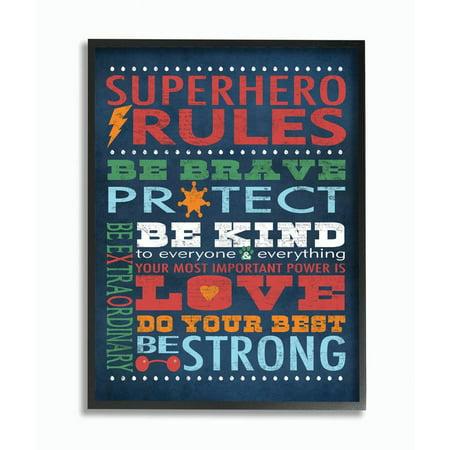 Stupell Industries 'Superhero Rules' Framed Textual (Kids Framed Art)