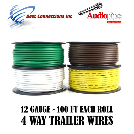 4 Way Flexible Cord Trailer Wire Harness Light Cable LED 12 Gauge 100Ft 4  Colors
